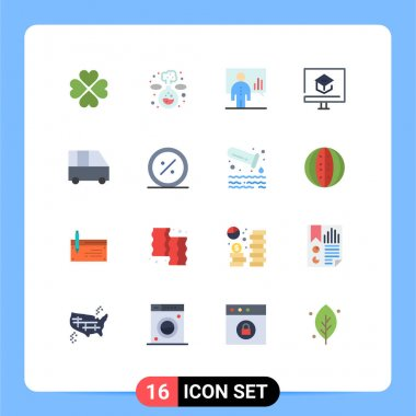 Stock Vector Icon Pack of 16 Line Signs and Symbols for school, learning, analytics, knowledge, presentation Editable Pack of Creative Vector Design Elements icon