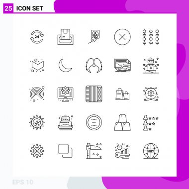 Stock Vector Icon Pack of 25 Line Signs and Symbols for media, charge, delivery, cord, electric Editable Vector Design Elements icon