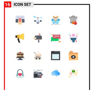 Universal Icon Symbols Group of 16 Modern Flat Colors of cooking, camping, world, boil, meeting Editable Pack of Creative Vector Design Elements icon