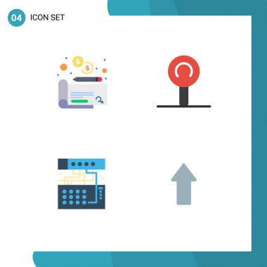 Set of 4 Commercial Flat Icons pack for cheaque, sound, lollipop, connection, arrows Editable Vector Design Elements icon