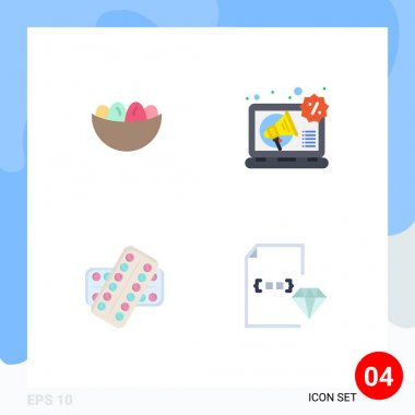 User Interface Pack of 4 Basic Flat Icons of bowl, medicine, egg, digital, drugs Editable Vector Design Elements icon