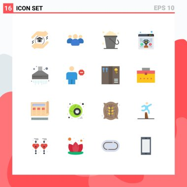 Set of 16 Modern UI Icons Symbols Signs for kitchen, extractor, cleaning, browser, seo Editable Pack of Creative Vector Design Elements icon