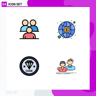 Stock Vector Icon Pack of 4 Line Signs and Symbols for business, coding, group, investment, development Editable Vector Design Elements icon