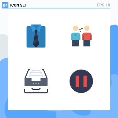 Pack of 4 Modern Flat Icons Signs and Symbols for Web Print Media such as clothes, handshake, fathers day, business, archive Editable Vector Design Elements icon