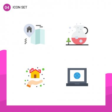 Pack of 4 Modern Flat Icons Signs and Symbols for Web Print Media such as home, home, ice, drink, shelter Editable Vector Design Elements icon
