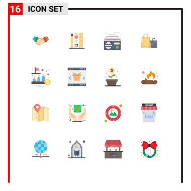 Set of 16 Modern UI Icons Symbols Signs for shop, handbag, education, bag, play Editable Pack of Creative Vector Design Elements icon