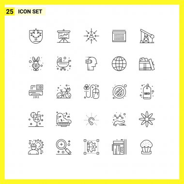 25 Thematic Vector Lines and Editable Symbols of vecation, selection, solution, focus, choice Editable Vector Design Elements
