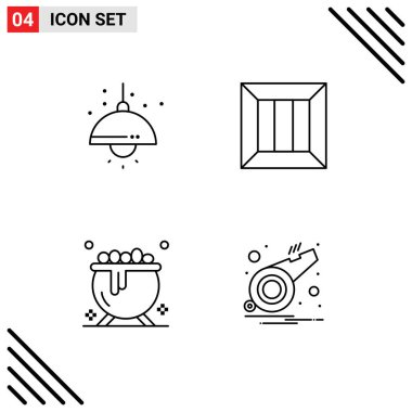 Stock Vector Icon Pack of 4 Line Signs and Symbols for home, cauldron, light, delivery, holiday Editable Vector Design Elements