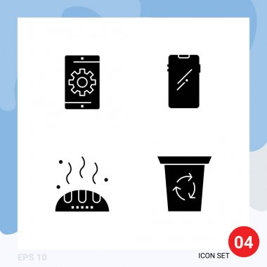 Stock Vector Icon Pack of 4 Line Signs and Symbols for engine, samsung, phone, smart phone, thanks Editable Vector Design Elements icon