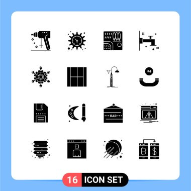Stock Vector Icon Pack of 16 Line Signs and Symbols for friends, water, forest, bath, travel Editable Vector Design Elements icon