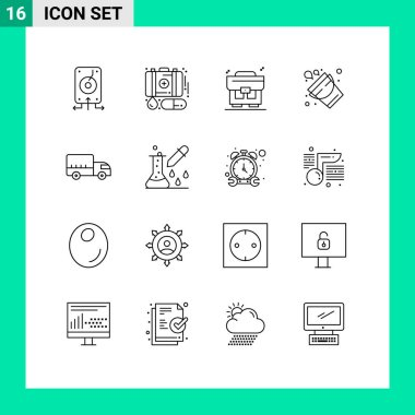 Stock Vector Icon Pack of 16 Line Signs and Symbols for logistics, tool, medicine, firefighter, bucket Editable Vector Design Elements icon