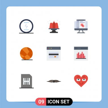 Stock Vector Icon Pack of 9 Line Signs and Symbols for web, atm, party, basket ball, sport Editable Vector Design Elements icon