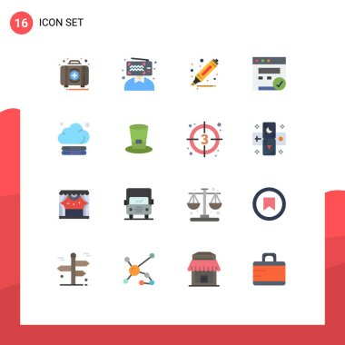 Set of 16 Modern UI Icons Symbols Signs for storage, cloud, influencer, web, browser Editable Pack of Creative Vector Design Elements icon