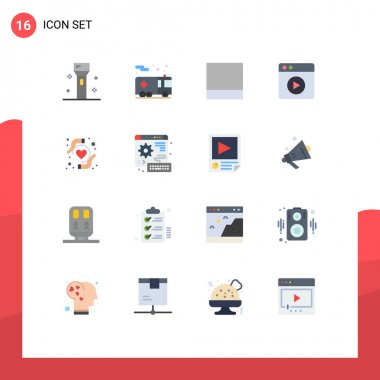 16 Creative Icons Modern Signs and Symbols of digital, heart health, transportation, health insurance, play Editable Pack of Creative Vector Design Elements icon