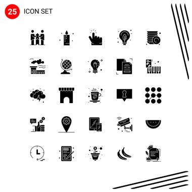 Stock Vector Icon Pack of 25 Line Signs and Symbols for plate, bulb, click, power, energy Editable Vector Design Elements icon