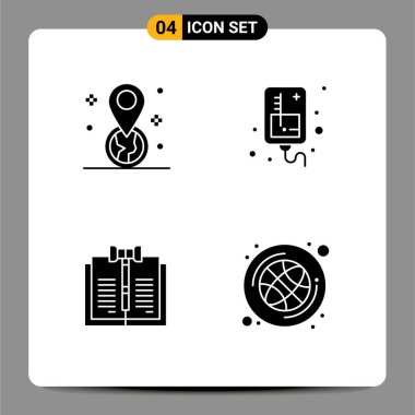 Stock Vector Icon Pack of 4 Line Signs and Symbols for geolocation, copyright, pin, iv, law Editable Vector Design Elements icon