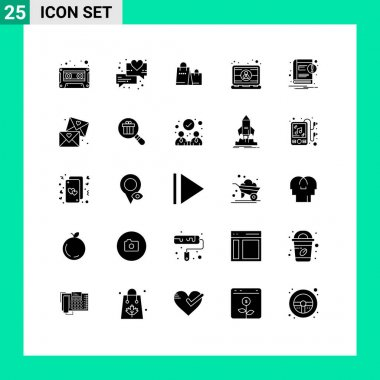 Stock Vector Icon Pack of 25 Line Signs and Symbols for ebook, user, handbag, laptop, employee Editable Vector Design Elements icon