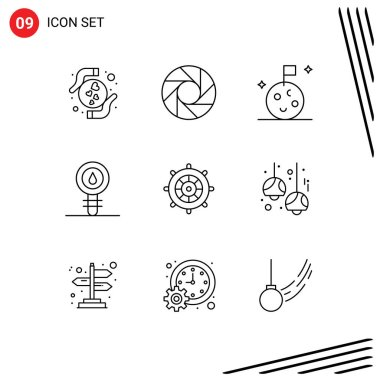 Stock Vector Icon Pack of 9 Line Signs and Symbols for steering, beach, moon, laboratory, cell Editable Vector Design Elements icon