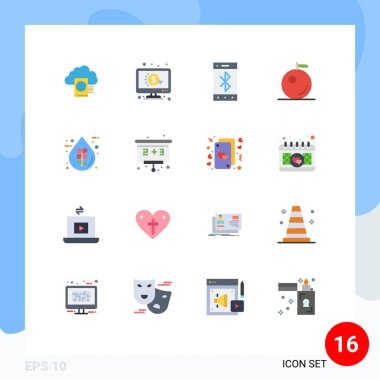 Universal Icon Symbols Group of 16 Modern Flat Colors of ecofriendly, drop, bluetooth, bio, fruit Editable Pack of Creative Vector Design Elements icon