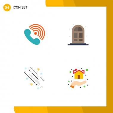 Pack of 4 creative Flat Icons of call, shooting star, ring, living, space Editable Vector Design Elements icon