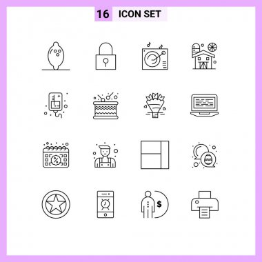 Stock Vector Icon Pack of 16 Line Signs and Symbols for medical, infusion, gramophone, drip, farm Editable Vector Design Elements icon