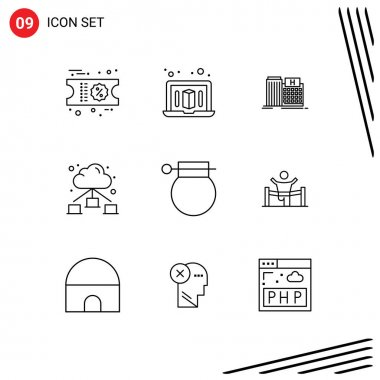 Stock Vector Icon Pack of 9 Line Signs and Symbols for weapon, military, building, bomb, cloud Editable Vector Design Elements icon