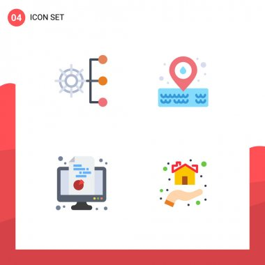Flat Icon Pack of 4 Universal Symbols of company, computer, management, water, pie Editable Vector Design Elements icon