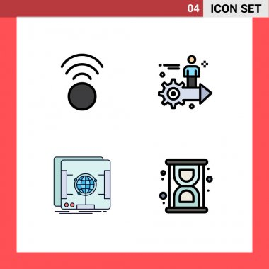 Stock Vector Icon Pack of 4 Line Signs and Symbols for connection, holographic, setting, user, scanner Editable Vector Design Elements icon