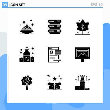 Stock Vector Icon Pack of 9 Line Signs and Symbols for news, wellness, storage, oil, healthcare Editable Vector Design Elements icon