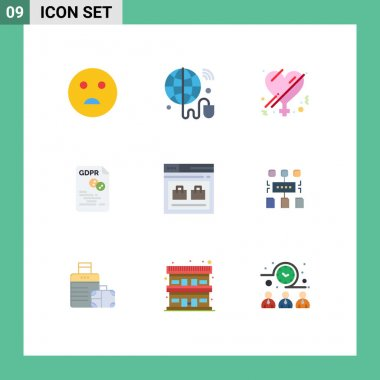 Stock Vector Icon Pack of 9 Line Signs and Symbols for page, secure, gender, gdpr, eu Editable Vector Design Elements icon