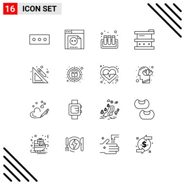 Stock Vector Icon Pack of 16 Line Signs and Symbols for campaign, school, biochemistry, ruler, laboratory Editable Vector Design Elements icon
