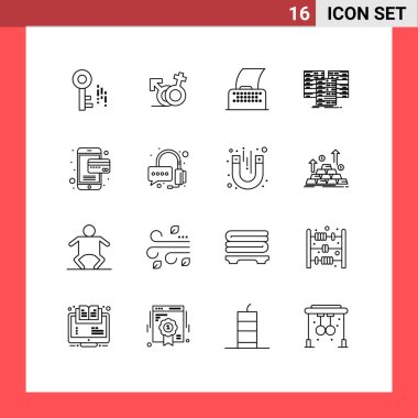 Stock Vector Icon Pack of 16 Line Signs and Symbols for online, server, paper, database, centre Editable Vector Design Elements icon