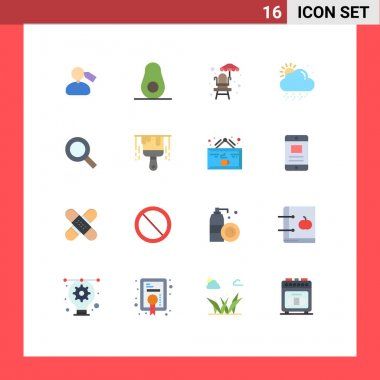 16 Creative Icons Modern Signs and Symbols of brush, zoom, water, search, weather Editable Pack of Creative Vector Design Elements icon