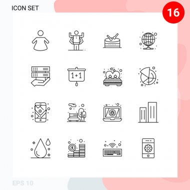 Pack of 16 Modern Outlines Signs and Symbols for Web Print Media such as education, control, hosting, share, data Editable Vector Design Elements