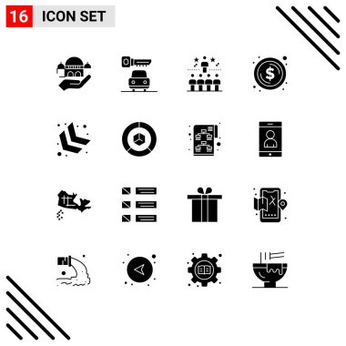 Stock Vector Icon Pack of 16 Line Signs and Symbols for chevron, money, success, dollar, circle Editable Vector Design Elements icon