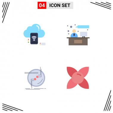 Flat Icon Pack of 4 Universal Symbols of wifi, chain, data, consulting, connection Editable Vector Design Elements icon