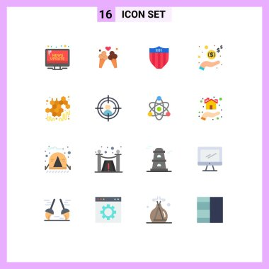 Universal Icon Symbols Group of 16 Modern Flat Colors of autumn, money, sweet, income, usa Editable Pack of Creative Vector Design Elements icon