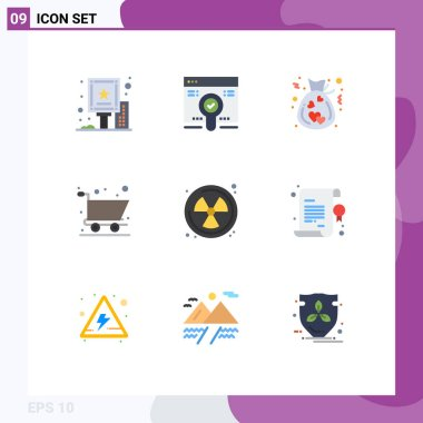9 Creative Icons Modern Signs and Symbols of waste, nuclear, bag, shopping, cart Editable Vector Design Elements icon
