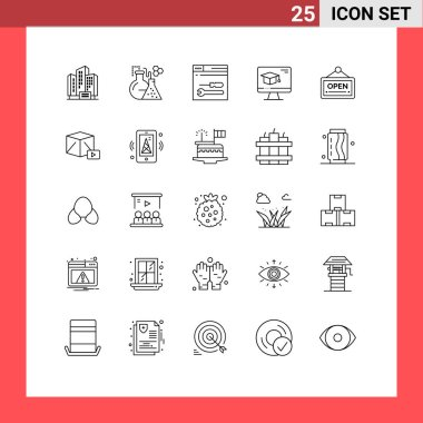Stock Vector Icon Pack of 25 Line Signs and Symbols for sign, graduation, development, education, computer Editable Vector Design Elements icon