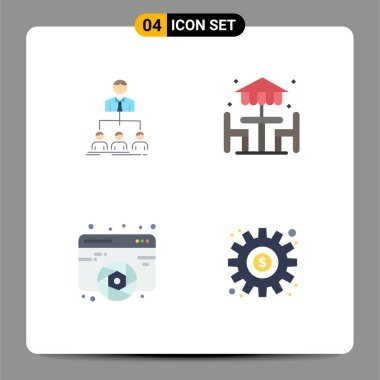 Pack of 4 creative Flat Icons of team, design, group, decoration, fine arts Editable Vector Design Elements icon