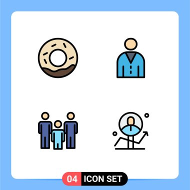 Stock Vector Icon Pack of 4 Line Signs and Symbols for bread, couple, avatar, people, health Editable Vector Design Elements icon