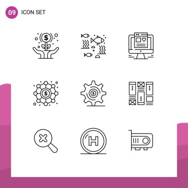 Stock Vector Icon Pack of 9 Line Signs and Symbols for business, investment, sea, finance, web design Editable Vector Design Elements icon