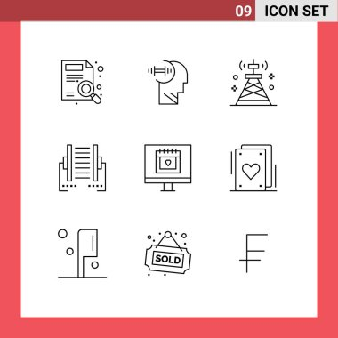 Stock Vector Icon Pack of 9 Line Signs and Symbols for transfer, data, communications, connection, tower Editable Vector Design Elements icon