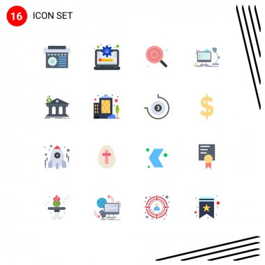 Universal Icon Symbols Group of 16 Modern Flat Colors of computer, office, baby, workstation, lollipop Editable Pack of Creative Vector Design Elements icon