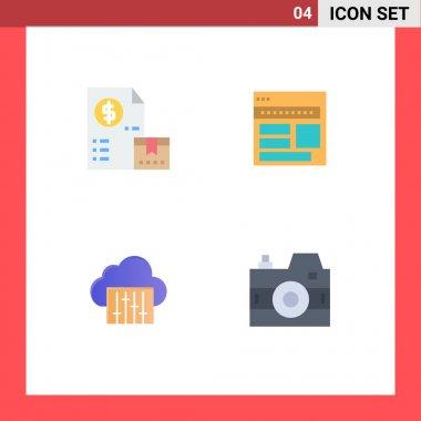 Pack of 4 Modern Flat Icons Signs and Symbols for Web Print Media such as cash, page, money, browser, webpage Editable Vector Design Elements icon