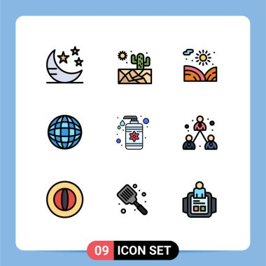 Stock Vector Icon Pack of 9 Line Signs and Symbols for care, lotion, garden, drop, internet Editable Vector Design Elements icon