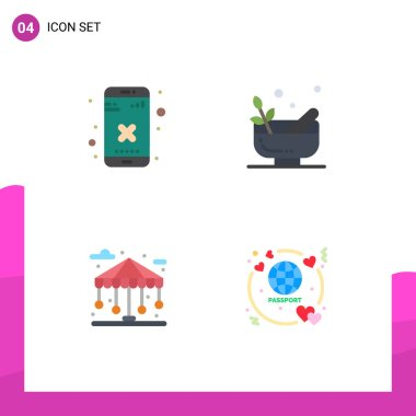 Pack of 4 creative Flat Icons of close, city, app, bowl, life Editable Vector Design Elements icon