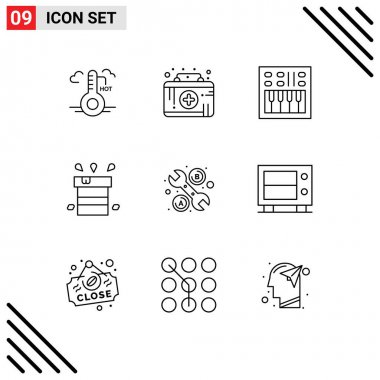 Stock Vector Icon Pack of 9 Line Signs and Symbols for water, miscellaneous, amplifier, dry, volume Editable Vector Design Elements icon