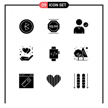 Stock Vector Icon Pack of 9 Line Signs and Symbols for time clock, watch, check, heart, gesture Editable Vector Design Elements icon