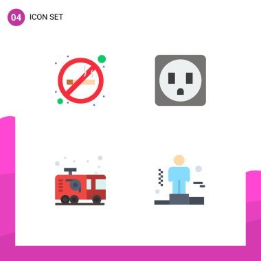 Set of 4 Commercial Flat Icons pack for cigarette, firefighter, smoking, car, business Editable Vector Design Elements icon